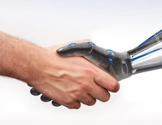 Human and robot handshake